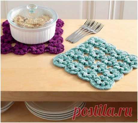 Красивое вязание крючком: панно, прихватки, подставки под горячее — Рукоделие