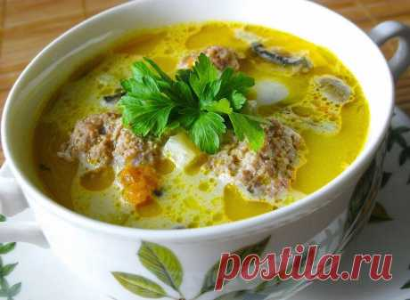 Сырный суп с фрикадельками | KitchenGuru.ru