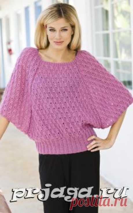 Вязание, пуловер с рукавами летучая мышь, спицами