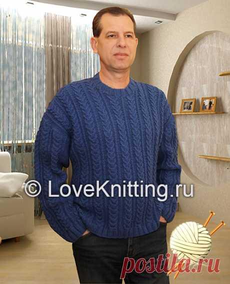 """Пуловер узором """"косы"""" для мужчины (вязание спицами)"""