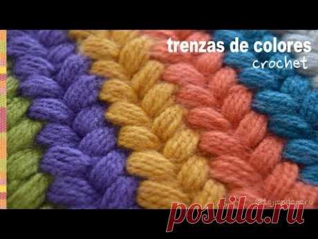 Trenzas puff de colores tejidas a crochet \/ Tejiendo Perú