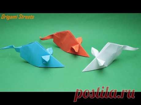 Как сделать мышку из бумаги Оригами мышь