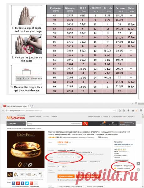 Размеры колец на Алиэкспресс (таблица размеров, как заказать кольцо, Aliexpress кольца)
