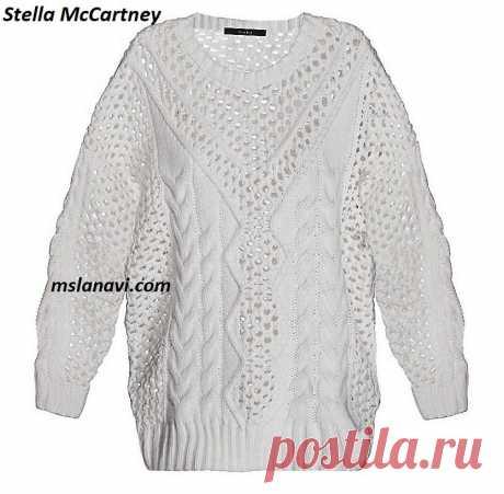 Белый пуловер спицами от Stella McCartney - Вяжем с Лана Ви Белый пуловер спицами отStella McCartney — оригинальная модель летнего пуловера из прежней коллекции известного дизайнера.Очень нарядный и модный пуловер,прежде всего благодаря белому цвету, а также интересному узорному ряду, дополненному изящной «сеточкой». Узор «сеточка», к сожалению, не предложен на отрисованной схеме. Есть похожая «сеточка» спицами в видео мастер-классе; этот узор, на мой взгляд, можно применить к […]