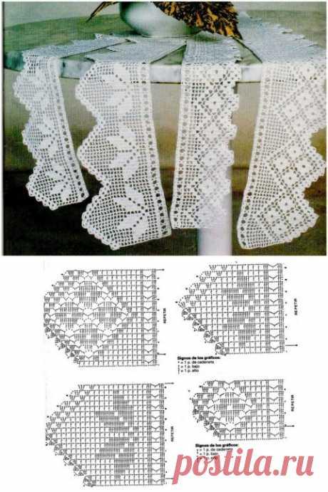 Кружево крючком 200 схем вязания
