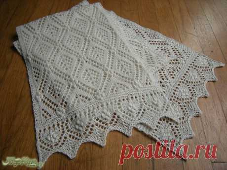 Ажурный белый шарф спицами со схемой. Красивый шарф спицами с узором ромбы. | Домоводство для всей семьи.