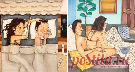 15 теплых рисунков о том, как выглядит любовь, когда никто не видит - Все самое интересное! ХудожницаАманда Олеандериз Лос-Анджелеса воплощает на бумаге самые теплые и честные моменты из...