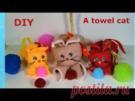 Как сделать котенка из полотенца.  A towel cat - YouTube