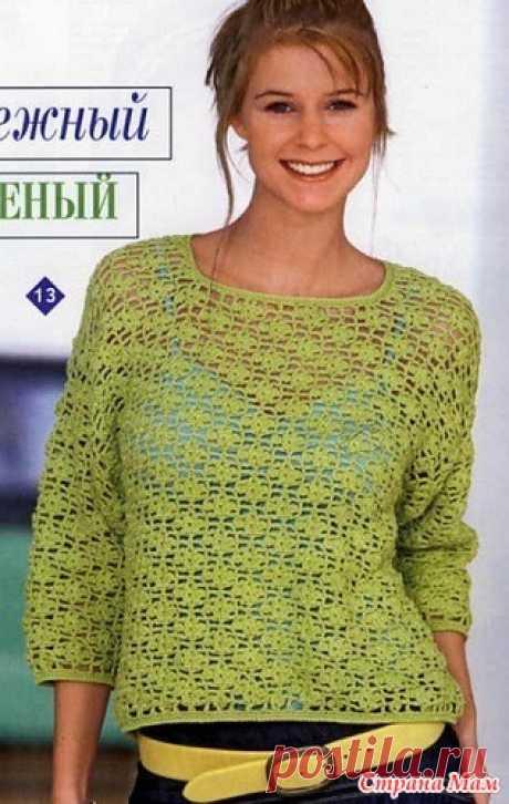 Ажурный пуловер крючком. https://woman7.ru/