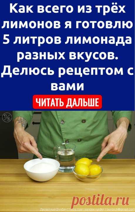 Как всего из трёх лимонов я готовлю 5 литров лимонада разных вкусов. Делюсь рецептом с вами