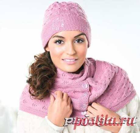 Шапка и шарф спицами красивыми косами