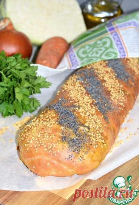 Пирог-рулет с жареной капустой - кулинарный рецепт
