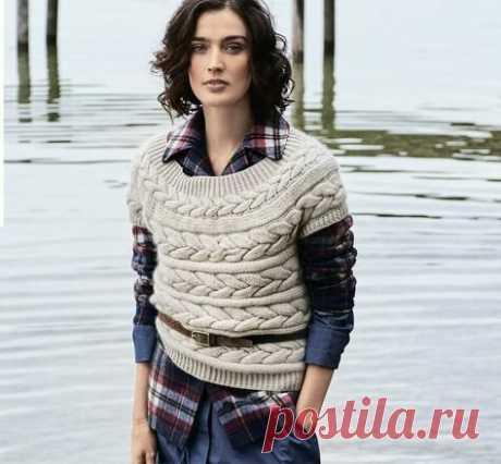 Жилет с поперечной косой спицами | Моё хобби.Вязание для женщин. | Яндекс Дзен
