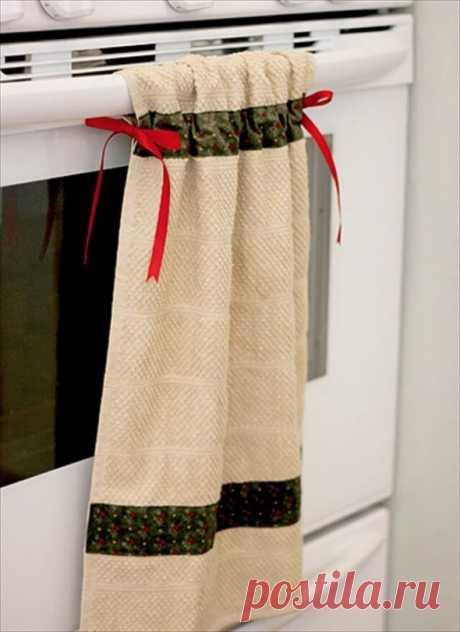 Куда на кухне повесить полотенца: идеи на фото