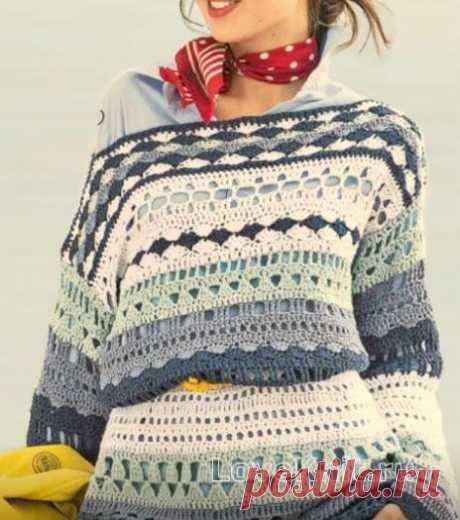 Цветной пуловер в морском стиле с открытыми плечами схема крючком » Люблю Вязать