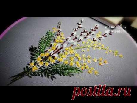 Flower embroidery : Spring bouquet | Цветочная вышивка:Весенний букет