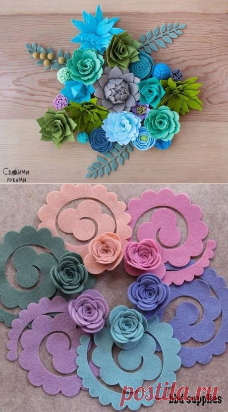 Цветочки из фетра — Сделай сам, идеи для творчества - DIY Ideas