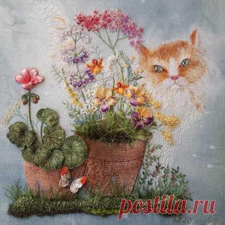 Все в сад: цветущая вышивка от мастерицы Розы Андреевой   MIAZAR   Яндекс Дзен