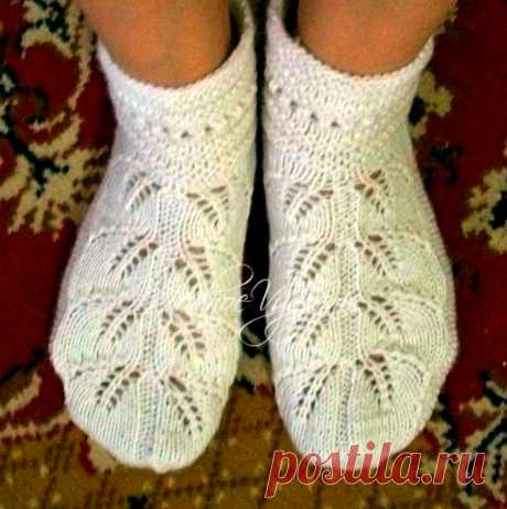 Носки ажурными листьями - Modnoe Vyazanie ru.com