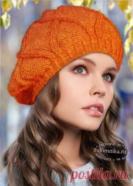 Модный берет спицами на осень - осенние шапки береты для женщин
