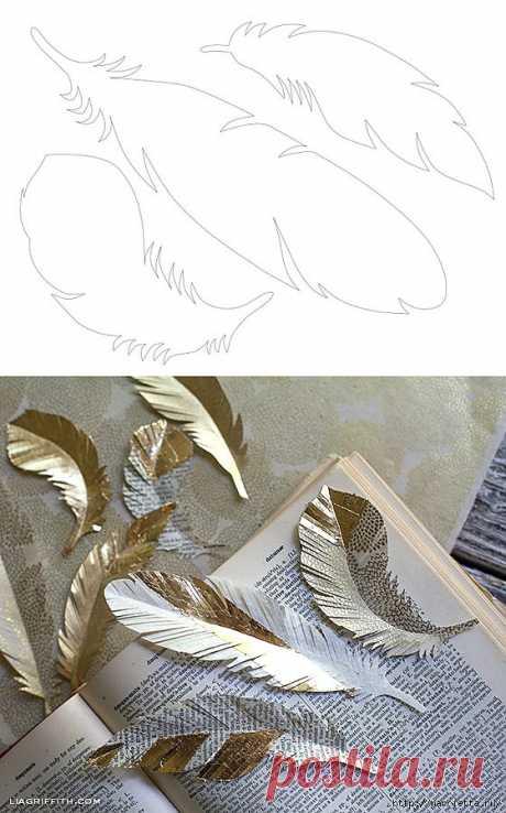 Las plumas del papel para la guirnalda de fiesta y adornamiento elochki. Los MODELOS de las PLUMAS.