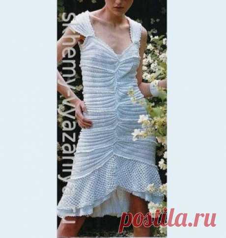 Белое платье из воланов - комбинированное вязание