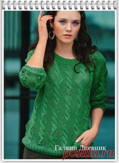 ГАЛКИН ДНЕВНИК : Женский пуловер спицами с ажурным узором