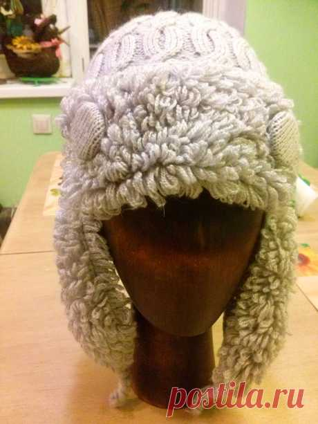 шапка ушанка спицами шапка-ушанка