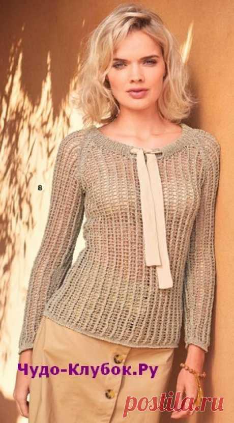 Пуловер с сетчатым узором и бантом вязаный спицами 1894 | ✺❁сайт ЧУДО-клубок ❣ ❂✺Перед этим вязаным пуловером с сетчатым узором и рукавами реглан невозможно устоять! Ширину горловины можно регулировать с помощью атласной ленты в кулиске. ❂ ►►➤6 000 ✿моделей вязания ❣❣❣ 70 000 узоров►►Заходите❣❣ %