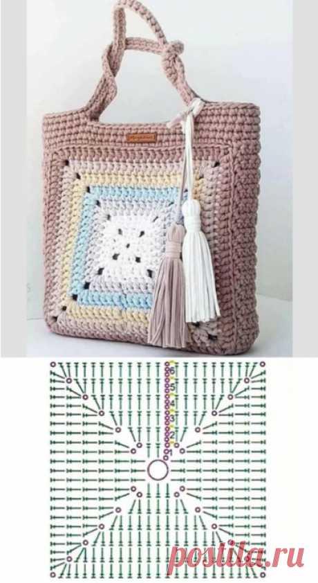 Квадратный мотив для сумки