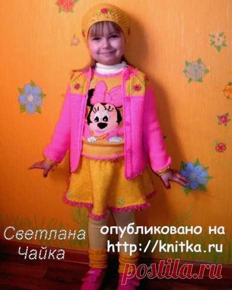 Вязаная безрукавка для девочки Веселая Минни, Вязание для детей