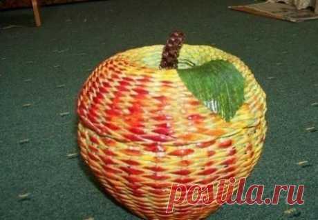 Шкатулка – яблоко, газетоплетение