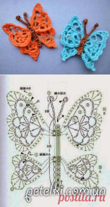 Ажурная бабочка крючком. Видеоурок, схема