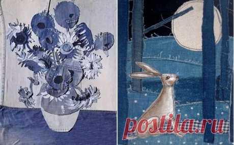 «Картины» из старых джинсов на всем, чем только можно — а может вы тоже «отважитесь» это повторить? | ДОМ ЯРКИХ ИДЕЙ | Яндекс Дзен
