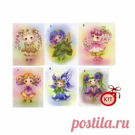 6 Mini Cute Charming Fairies Cross Stitch Kits at Your Choice | Etsy