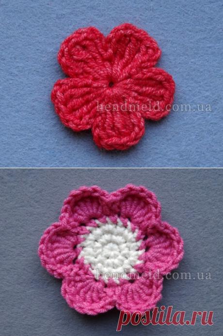 Вязаный крючком маленький цветочек на 5 лепестков