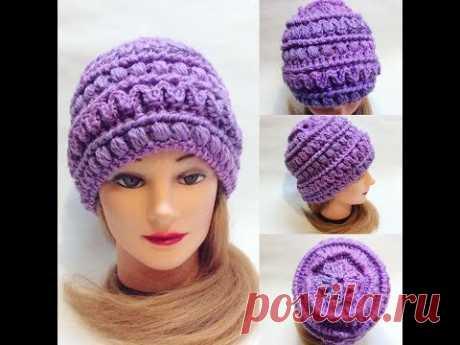 Шапка с интересной макушкой крючком crochet cap
