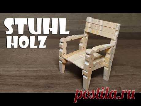 Stuhl aus Holz Wäscheklammern selber basteln - wooden chair with clothespin craft DIY [4K]