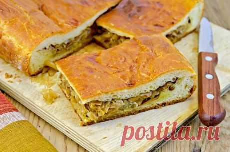 Заливной пирог с капустой и грибами, настоящий рецепт, домашний!