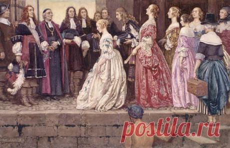 """""""Дочери короля""""   Чёрт побери В 1608 году французы основали в Северной Америке колонию Новая Франция. Колонисты имели разрешение на промысел меха, древесины и рыбы в обмен на обещание заселять и развивать эту территорию. В 1663 году население колонии составляло лишь 2500 человек. На каждую женщину приходилось шесть мужчин, поэтому франкоканадцы вступали в браки с индианками и негритянками. Количество населения колонии было чрезвычайно мало по сравнению с более чем 100 000 ..."""