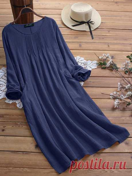 Fashion O-NEWE Vintage Solid Color Crew Neck Plus Size Maxi Dress with Pockets - NewChic