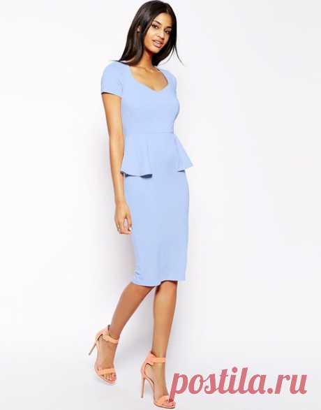 Платье с баской  Размеры 44-52 rus  #выкройки #платье #баска