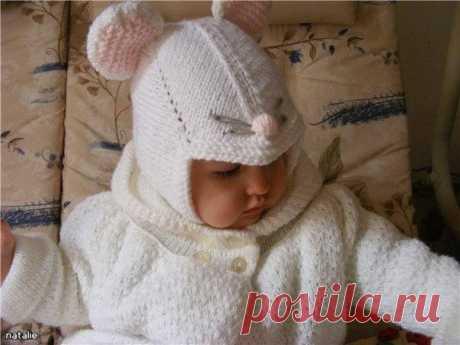 Детская шапочка-мышонок. Вязание спицами / X-Style