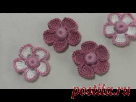 Вязание крючком. Маленький цветок с объемной серединкой. элементы ирландского кружева
