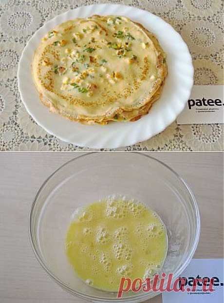 Pancakes with a heat of the sun with cornmeal - the recipe with photos
