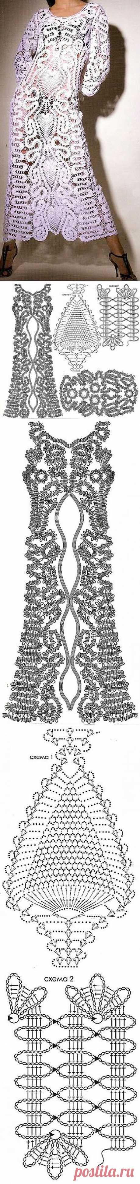Платье связанное в технике брюггского кружева.