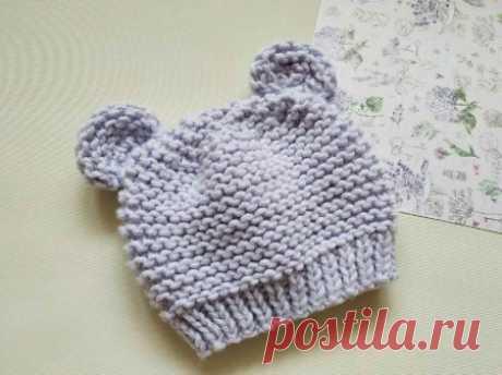 Чтобы ребенок не замерз. Вяжем милую детскую шапочку с ушками » «Хомяк55» - всё о вязании спицами и крючком