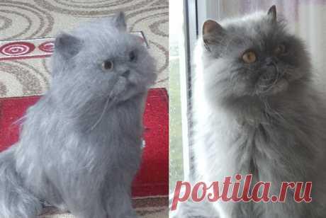 Этот персидского кота звали Мэрсик, скульптура сделана по фото заказчика в память об этом красавце. Сделаю портретную скульптуру вашей кошечки по фото из 100% шерсти меринос методом сухого валяния