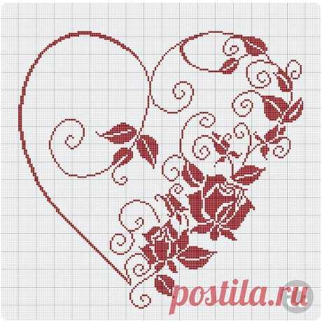 Вышиваем сердечки: подборка схем