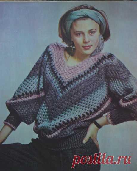 Пуловер крючком из прошлого | Женская одежда крючком. Схемы и описание